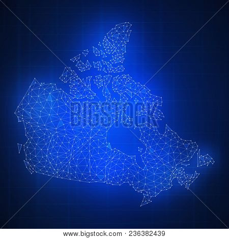 Polygon Canada map with blockchain technology peer to peer network on futuristic hud background. Network, p2p business, e-commerce, bitcoin trade and cryptocurrency blockchain business banner concept.