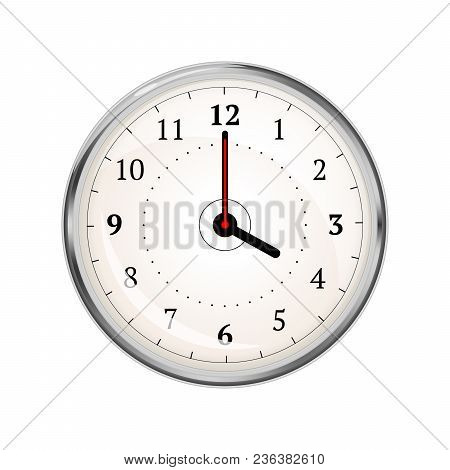 Realistic Clock Face Showing 04-00 Isolated On White