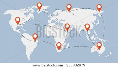 World Map Color And Location, Illustration Vector