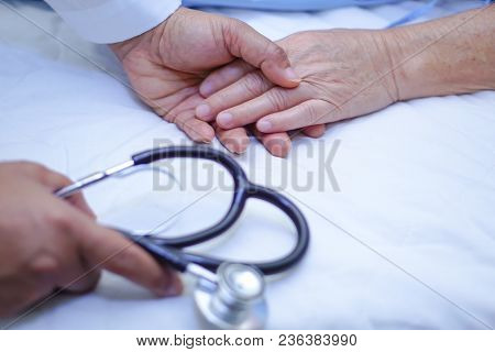 Doctor Touching Hands Asian Senior Or Elderly Old Lady Woman Patient With Love, Care, Helping, Encou