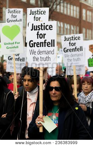 London, United Kingdom, 14th April 2018:- Marchers On A Silent March From Kensington Town Hall To Th