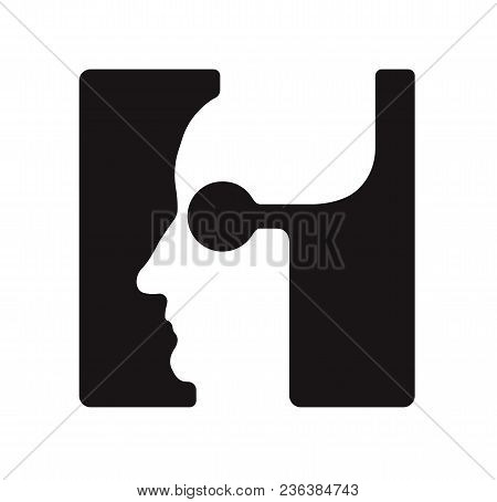 H H Logo Logotype - English Font Upper Case Letter - Human Faces Of Cyborg Robots, For Computer Them
