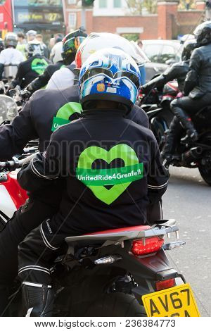 London, United Kingdom, 14th April 2018:- Bikers Leading A Silent March From Kensington Town Hall To