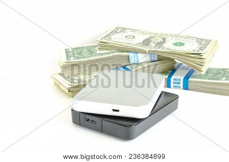 Portable Drive Usb On Dollars Pile For Data Is Money Concept