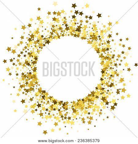 Round Gold Frame Or Border Of Random Scatter Golden Stars On White Background. Design Element For Fe