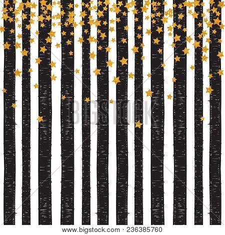 Abstract Pattern Of Random Falling Golden Stars On Trendy Striped Background. Elegant Pattern For Ba