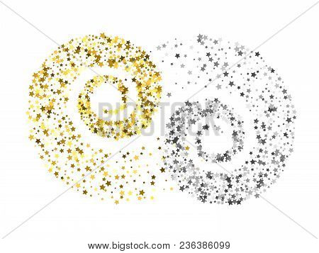Decoration Of Gold And Silver Star Twisted In Swirl Or Vortex. Glowing Trail Of Sparkling Particle.