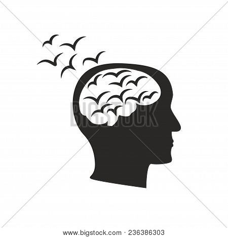 Depression Mental Disease Icon. Stock Vector Illustration Of A Human Profile With Black Birds Flock