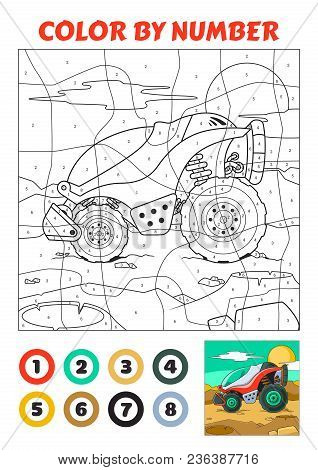 Color By Number Is An Educational Game For Children. Red Explorer Vehicle Space Expedition. Vector E