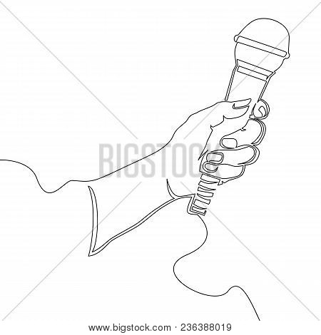 Hand With Microphone Continuous Line Vector Illustration