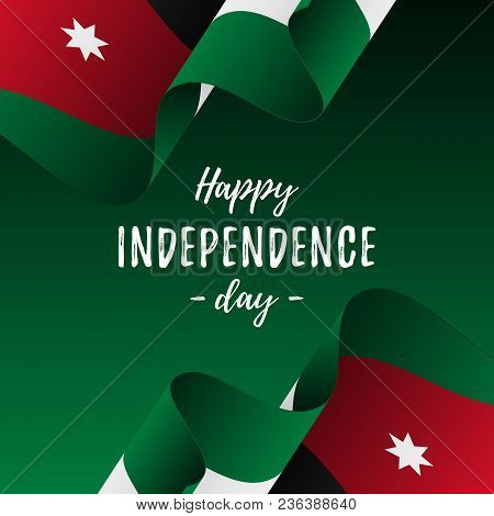 Banner Or Poster Of Jordan Independence Day Celebration. Jordan Flag. Vector Illustration.