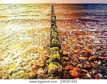 Abstract Effect.  Wooden Breakwaters On A Shore Of The Baltic Sea With A Sun Hidden In Low Clouds. S
