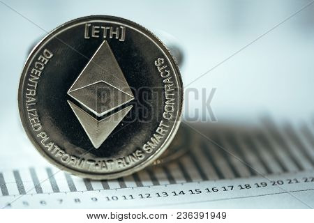 Ethereum Cryptocurrency, Blockchain Technology Decentralized Currency Coin, Conceptual Image With Se