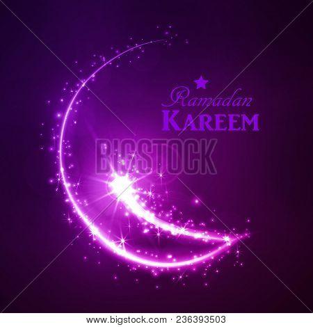 Ramadan Greeting Card On Dark Background. Vector Illustration. Ramadan Kareem Means Ramadan Is Gener