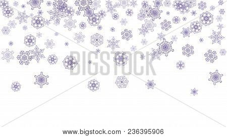 Xmas Theme Sale With Ultraviolet Snowflakes. Winter Border For Gift Coupons, Vouchers, Ads, Party Ev