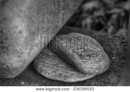 Stone Background, Cracked Boulders On Big Pile Of Rocks