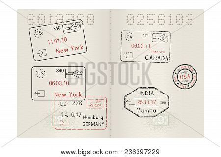 Passport Pages With International Stamps Of Usa, Germany, India And Canada Cities. Arrival And Depar