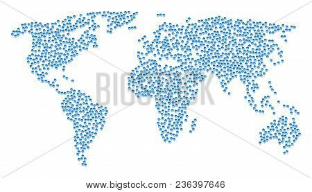 Geographic Concept Map Composed Of Jellyfish Elements. Vector Jellyfish Scattered Flat Icons Are Com