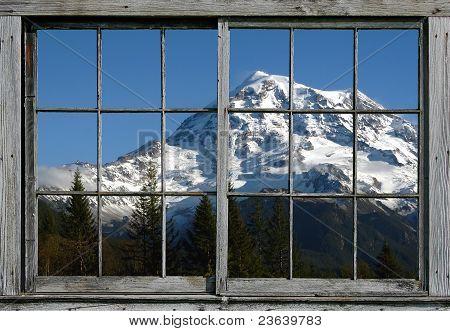 Mt Ranier Through the Window