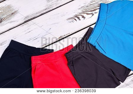 Beautiful Set Of New Kids Shorts. Toddler Kids Collection Of High Quality Summer Shorts, Old Wooden