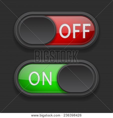 Toggle Switch Buttons. On And Off Red And Green Buttons On Black Background. Vector 3d Illustration