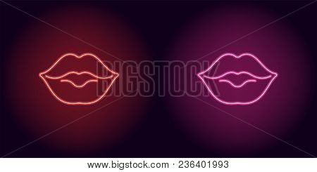Neon Lips In Red And Pink Color. Vector Illustration Of Neon Kiss Consisting Of Outlines, With Backl