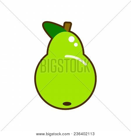 Fresh Pear Icon Illustration. Green Pear Icon. Pear Icon Clipart.