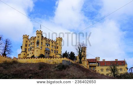 Hohenschwangau, Ostallgau, Bavaria / Germany - March 2018: Exterior View Of Historic Hohenschwangau