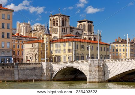The City Embankment Along The Saone River On A Sunny Day. Lyon. France.