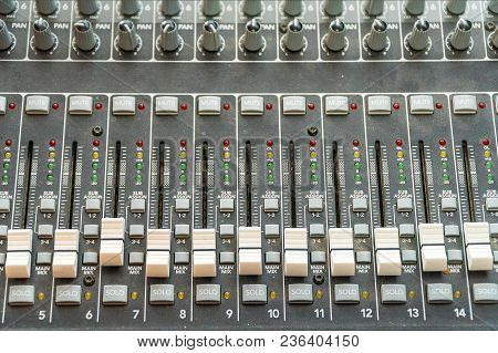 Sliders And Faders On The Mixing Console