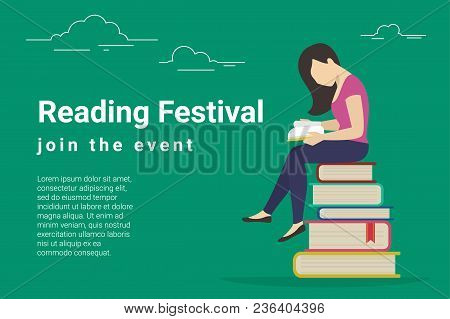 Reading Festival Concept Vector Illustration Of Young Woman Sitting In Many Books And Reading Intere
