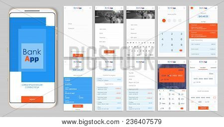 Design Of The Mobile App Ui, Ux. A Set Of Gui Screens For Mobile Banking With Login And Password Inp