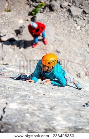 Mountaineer In Helmet.