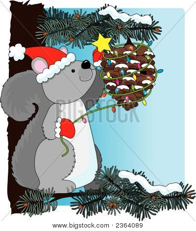A squirrel decorating a pinecone for Christmas poster