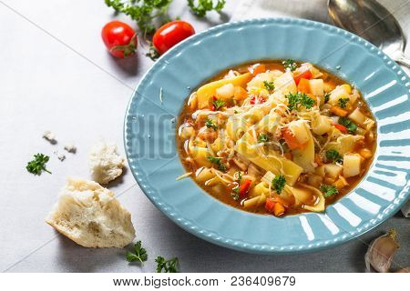 Minestrone Traditional Italian Soup From Vegetables, Tomato And Pasta. Meatless Dish.