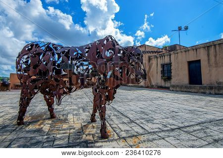 Santo Domingo, Dominican Republic- October 30, 2015: Exterior Of The Iron Bull Artwork At Santo Domi