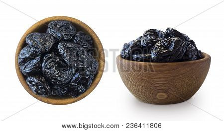 Dried Prunes Isolated On A White Background. Dried Prunes In A Bowl On White Background. Dried Prune