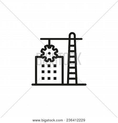 Line Icon Of Construction Crane, Building And Cogwheel. Building Activity, Housing Development, Cons