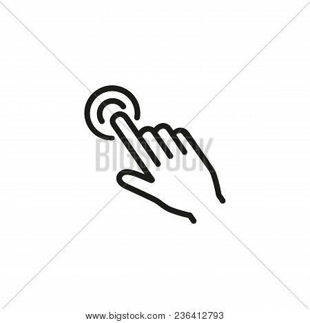 Double Tap With One Finger Line Icon. Index Finger, Hand, Click. Gesturing Concept. Can Be Used For