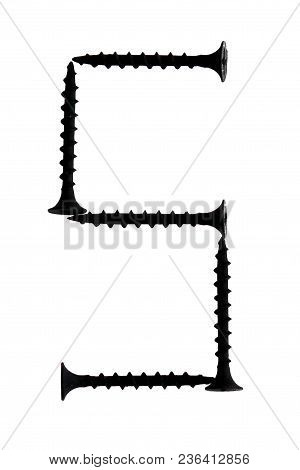 Figure 5 Five Composed Of Screws Isolated On A White Background. Number 5