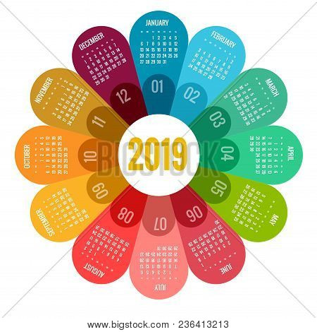 Colorful Round Calendar 2019 Design, Print Template, Your Logo And Text. Week Starts Sunday. Portrai
