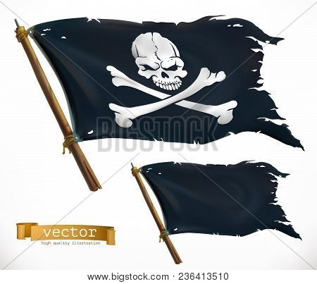 Pirate. Black Flag. Jolly Roger 3d Vector Icon