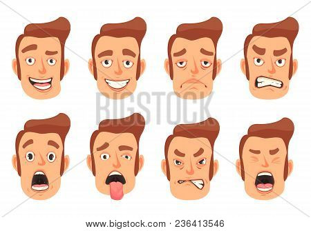 Men Facial Gestures Pleasure Surprise Fear Disgust Emotions 8 Cute Mouth Cartoon Icons Set Isolated
