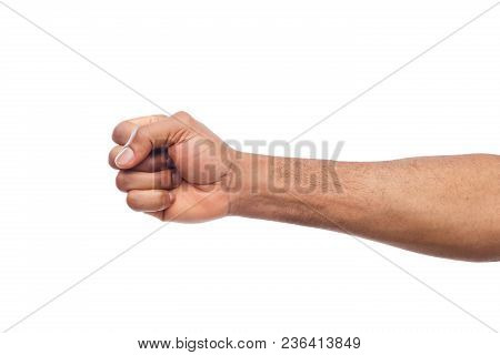 Male Black Fist Isolated On White Background. African-american Clenched Hand, Gesturing Up. Counting