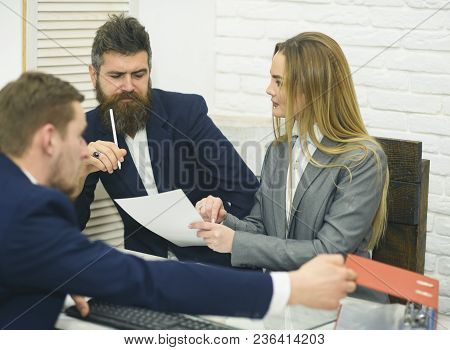 Business Partners, Businessmen At Meeting, Office Background. Business Negotiations, Discuss Conditi
