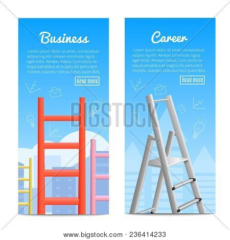 Career Ladder Business Job Promotion Metaphor 2 Realistic Vertical Informative Banners Web Page Desi