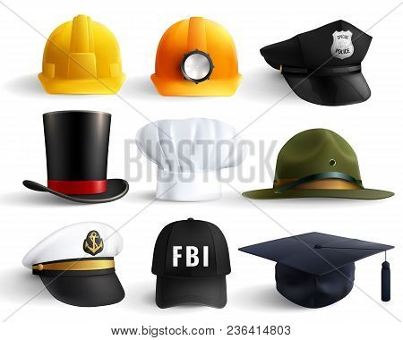 Different Professions Hats Set With Magistr Hat Miner Helmet Cylinder Chef Fbi And Police Head Unifo