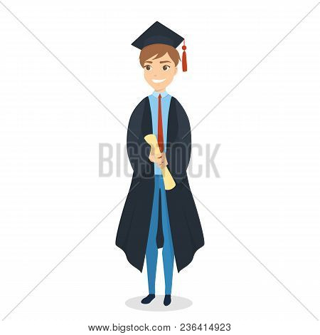 Isolated Graduated Male Student With Diploma On White.