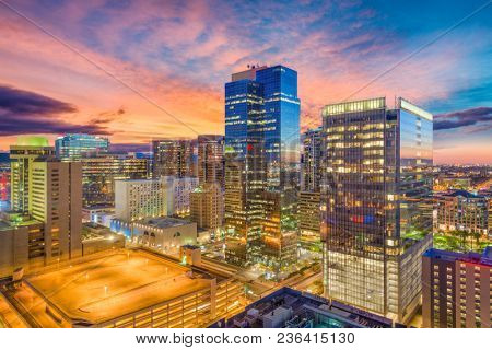 Phoenix, Arizona, USA cityscape in downtown at sunset.