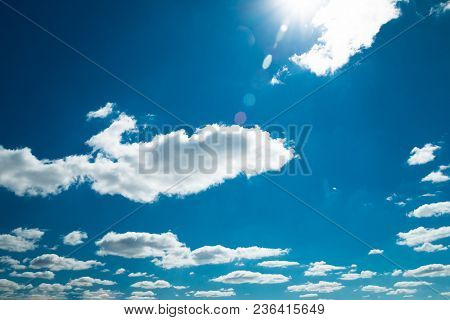 Beautiful Blue Sky With Clouds. Blue Sky With Cloud Closeup